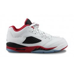 NIKE JORDAN 5 RETRO LOW JUNIOR BLANC